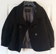 BCBG Max Azria XS Black Virgin Wool Market coat Jacket cropped Pea swing classic