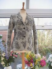 MADE IN ITALY *PHASE  EIGHT* GREY FLORAL 60% BOILED WOOL MIX BLAZER JACKET Sz M