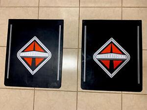 "International Mud Flaps Black w/logo Gray Line24""x 30"" (PAIR) Heavy Duty Rubber"