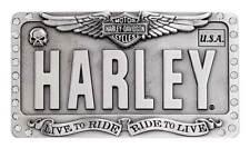 Harley-Davidson Women's Embellished License Plate Belt Buckle, Antique Silver