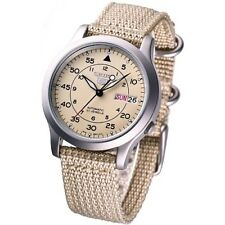 NEW SEIKO 5 SNK803K2 AUTOMATIC military WATCH (CAL.7S26C) Beige face nylon strap
