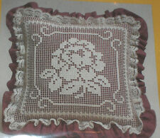 "1985 ""Rose Garden Beauty"" Lace Net Darning Pillow Kit NIP 10"""