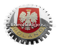 1- NEW Chrome Front Grill Badge Emblem Polish Republic of POLAND FLAG MEDALLION