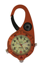 Mini Clip Watch – Compact Analog Display Carabiner Orange Watch Ultra Bright LED