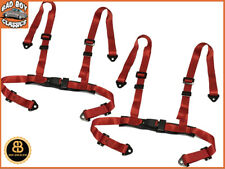 """Pair Racing Bucket Car Seat Belt Harnesses 4 Point RED Centre Buckle 2"""" Straps"""
