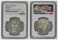 NGC Guatemala 1894 Un Peso Counterstamped ½ Real On Peru 1885 Sol Silver Coin AU