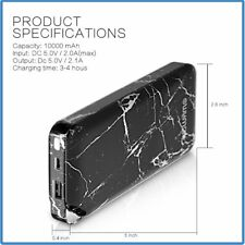 Portable 10000mAh Slim Power Bank, Upgraded External Battery Type-C 18W fast