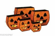 Halloween 5 Metal Scary Haunted Decor Pumpkin Luminary 16 14 12 9 7 in H NIB