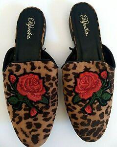 Paprika Women's Size 9 Slip On New Shoes Brown / Tan Animal Print Red Rose