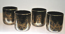 """RARE-VINTAGE """"LIBBEY"""" BLACK COCKTAIL GLASSES WITH GOLD GILT SWIRLS CONTEMPORARY"""
