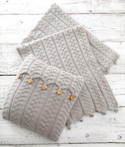 UKHKA 160 Cushion & Blanket Knitting Pattern In Aran Weight Yarn