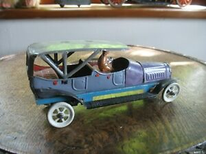 RARE ANTIQUE DISTLER CANOPY TOP LIMOUSINE WIND UP CAR TINPLATE GERMANY TIN TOY