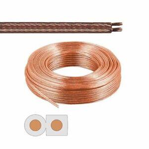 Câble Enceinte Haut Parleur 20m 2x25mm² Bobine de Cuivre Audio Transparent HIFI