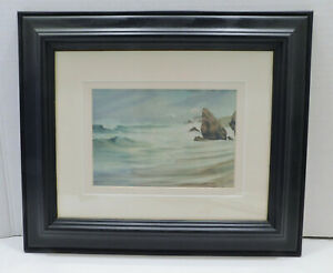 Framed Matted Picture Print Blues Greens Seascape Irish Artist Ros Harvey