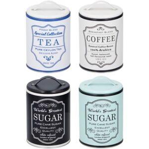 4 x Tea Coffee Sugar Food Storage Canister Tin Handle Storage Tin Vintage Retro