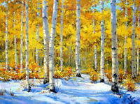 Art Print Beautiful Birch Forest Scenery Oil Painting Printed on Canvas P946