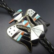 BOBBY and CORRAINE SHACK Vintage ZUNI Sterling Silver THUNDERBIRD BOLO Tie