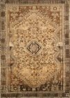 Antique Muted Geometric Hand-Knotted Wool Abadeh Area Rug Oriental Carpet 7x10