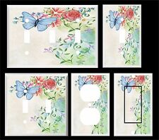 BLUE BUTTERFLY FLORAL WATER COLOR LIGHT SWITCH COVER PLATE