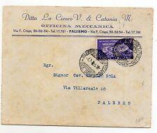 STORIA POSTALE 1951 REPUBBLICA MONTECASSINO LIRE 20 SU BUSTA PALERMO 4/7 D/8700
