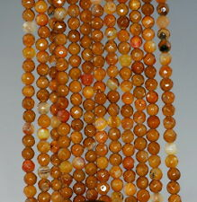 """4MM  AGATE GEMSTONE YELLOW BROWN FACETED ROUND LOOSE BEADS 15"""""""