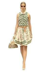 Green Floral Striped Dress with short sleeves