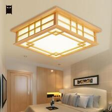 LED Wood Square Tatami Ceiling Light Fixture Chinese Japanese Grid Lamp Bedroom