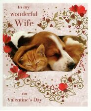 Wonderful Wife Dog & Cat Valentine's Greeting Card Beautiful Valentines Cards