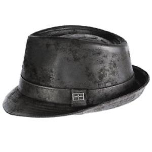 Karma Accessories Eureka Camden  Leather Snap Brim Black or Olive Trilby Hat