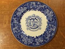 """Wedgwood Bridgeport Centennial 10 1/2"""" creamware blue historical plate ca 1936"""