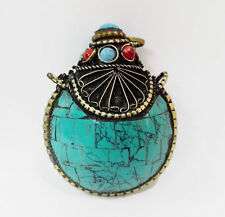 Old Tibet Silver snuff bottle Blue Turquoise HANDWORK CARVED