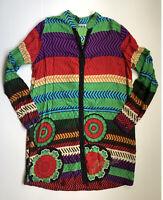 Dezigual Women Multicoloured Long Sleeve Summer Tunic Button Down Blouse Size 12