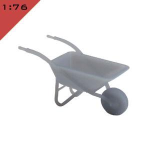 2x 3D printed STEEL WHEELBARROW 1:72, 1:76, 1:87, OO/HO Model Railway Scenery