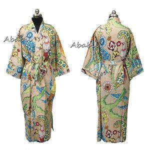 Cotton Floral Sleepwear Robes Nightdress Kimono Beach Wear Cover Up Long Kimono Women Maxi Dress Kimono Gift For Her Women/'s Night Wear