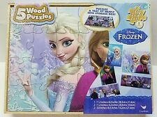 Frozen Elsa Anna 5 Wood Puzzles Storage Box Tray Kid Educational Learn Puzzle