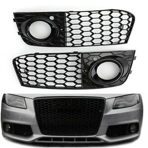 Pair Honeycomb Mesh Fog Light Open Vent Grill Intake For Audi A4 B8 2009-2012 AU