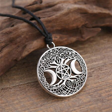 Unisex-Vintage Triple Moon Pentagram Magic Pendant Goddess Tree Of Life Necklace