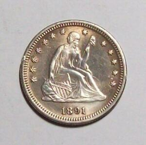 1891-P SEATED LIBERTY QUARTER Crimped Edge Uncirculated Details   #30C53