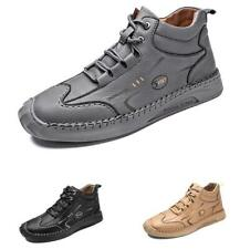 Retro Men High Top Faux Leather Ankle Boots Shoes Sports Outdoor Walking Comfy L