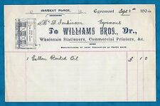 1904 INVOICE WILLIAMS BROS., PRINTERS, MARKET PLACE, EGREMONT