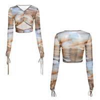 Damen Mesh Langarm Shirts Drucken V Neck Bauchfrei Slim Fit T-Shirt Crop Tops