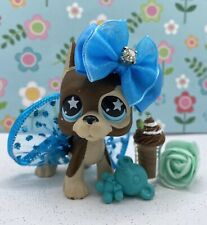 Authentic Littlest Pet Shop # 817 Brown Tan Great Dane Blue Star Eyes