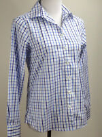 LANDS' END L/S Plaid NO IRON Supima Cotton Shirt - 4, Blue White