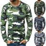 Men Casual Slim Fit Camouflage Printed Long Sleeve TShirt Top Muscle Tee Blouse
