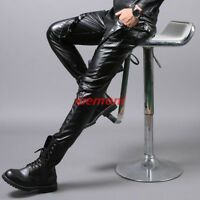 Rock Mens New Motorcycle Slim Pants Trousers Size Black PU Leather Velet Lining
