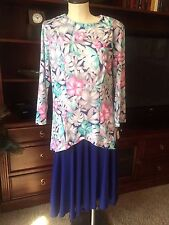Vintage Silky Two Piece Tunic Dress/Floral Tunic Top and Under Dress