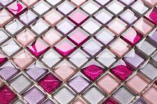 LUXUS Glasmosaikfliesen EFFEKT intensiv LILA PINK VIOLETT glitzer glänzend 8mm