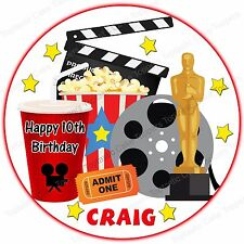 Personalised Cinema Film Movie Hollywood Edible Icing Birthday Party Cake Topper