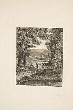 Gravure originale Eau-Forte Paulin CARBONNIER Petit paysage d'Italie animé XIX°