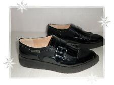 I   - Chaussures Mocassins Compensés Verni Noir  Cre Dringe Creepers P 40